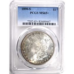 1890-S MORGAN DOLLAR PCGS MS65+