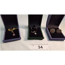 1 Sterling Necklace Plus 2 Misc. Pcs.