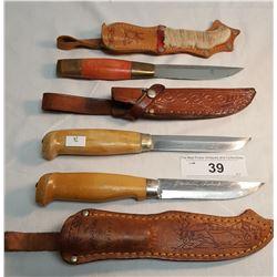 3 Finnish Pukko Knives