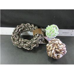 3 New Braided Rope dog toys