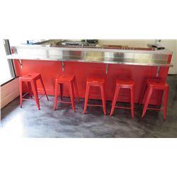 "Long Stainless Steel Bracket-Mount Bar Counter 118"" L X 12"" W X 1.5"" H"