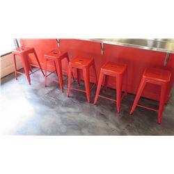 5 Red Retro Metal Bar Stools