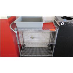"""NSF Rolling Stainess Steel Wire Cart w/ 3 Shelves 30"""" X 18"""" X 34"""" H"""