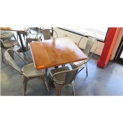 Square Wood Table w/Round Metal Base (35 X 35 X 29 H), 4 Retro Metal Chairs