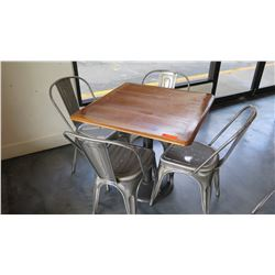 Square Wood Table w/Round Metal Base (35 X 35 X 29 H), 4 Retro Metal Chairs