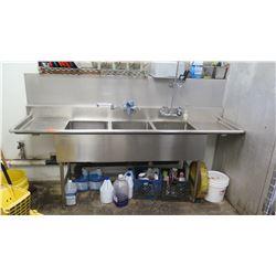 "3-Compartment Dishwashing Sink/Station 94"" X 25"" X 37.5"" H"