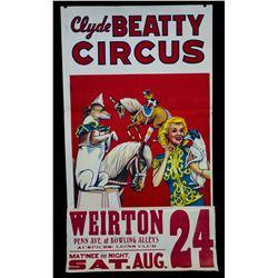 1945 Wisconsin Circus Museum Circus Poster (Clyde Beatty Circus)