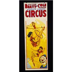 Clyde Beatty & Cole Bros. Circus Poster-circa 1945-49.