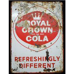 Large Vintage Royal Crown Cola Metal Sign
