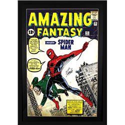 """Stan Lee Signed """"Spider-Man"""" 29x42 Custom Framed Poster Display (Lee Hologram)"""