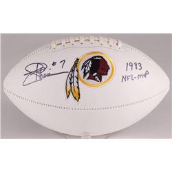 """Joe Theismann Signed Redskins Logo Football Inscribed """"1983 NFL-MVP"""" (JSA Hologram)"""