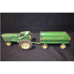 John Deere Tractor & Wagon Tin Toy