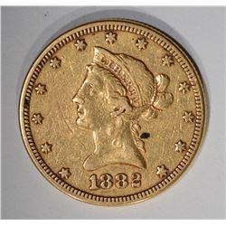 1882 $10.00 GOLD LIBERTY, VF/XF