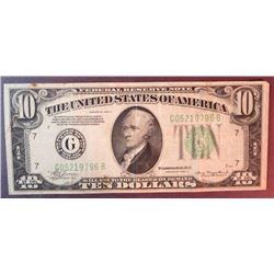 1934 A $10 Federal Reserve Note