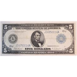 1914 $5 Federal Reserve Note