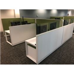 STEELCASE TURNSTONE 4 PERSON WHITE / GREEN OFFICE CUBICLE WITH GLASS PANEL DIVIDERS,