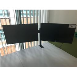 "DESK MOUNT FULLY ADJUSTABLE DOUBLE MONITOR STAND WITH 2 ASUS 24"" ROTATING MONITORS"