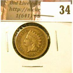 1863 U.S. Indian Cent, Fine.
