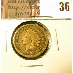 1864 U.S. Indian Head Cent, Copper-nickel, Good.