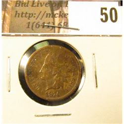 1874 U.S. Indian Head Cent, Very Good.
