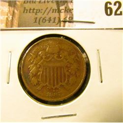 1867 U.S. Two Cent Piece. F-VF.