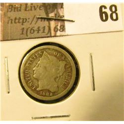 1882 U.S. Three Cent Nickel, Good.
