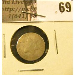 1851 U.S. Three Cent Silver, Good.