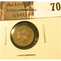 1852 U.S. Three Cent Silver, VF.