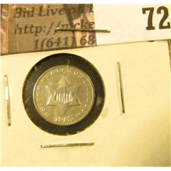 1853 U.S. Three Cent Silver, Fine.