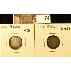 (2) U.S. Seated Liberty Half Dimes: 1845 in AG & 1845 Good.