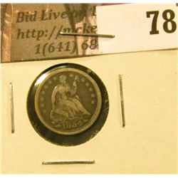 1854 arrows U.S. Seated Liberty Half Dime, Fine.