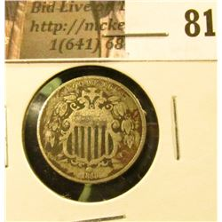1868 U.S. Shield Nickel, Very Good-Fine.