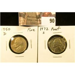 1950 D Fine & 1972 S Proof Jefferson Nickels.