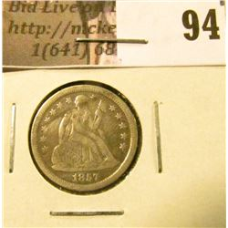 1857 U.S. Seated Liberty Dime, EF with a mark.