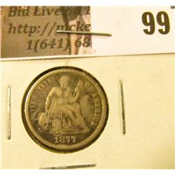 1877 S U.S. Seated Liberty Dime, VF.