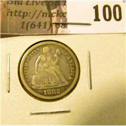 1882 P U.S. Seated Liberty Dime, VF.