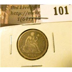 1886 P U.S. Seated Liberty Dime, VF.