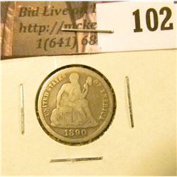 1890 P U.S. Seated Liberty Dime, VG.