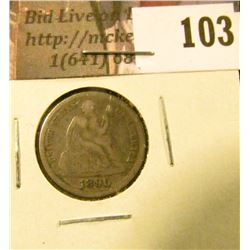 1890 P U.S. Seated Liberty Dime, Fine.
