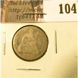 1891 P U.S. Seated Liberty Dime, VG.