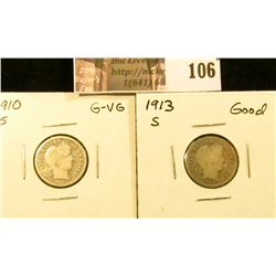 1910 S G-VG & 1913 S Good U.S. Barber Dimes.