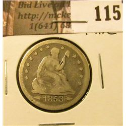 1853 Arrows & Rays U.S. Seated Liberty Quarters, Fine.