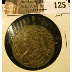 1823 Normal 3 Capped Bust Half Dollar, EF.