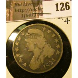 1824 Normal 4 Capped Bust Half Dollar, VG.