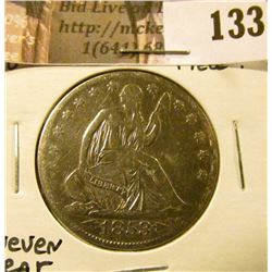 1853 O Arrows & Rays U.S. Seated Liberty Half Dollar, uneven wear, cleaned, possible pocket coin.