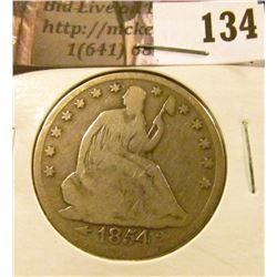 1854 P U.S. Seated Liberty Half Dollar, Good.