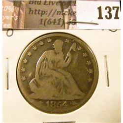 1854 O  U.S. Seated Liberty Half Dollar, G-VG.