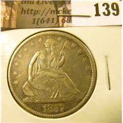 1857 P  U.S. Seated Liberty Half Dollar,EF.