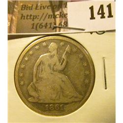 1861 P   U.S. Seated Liberty Half Dollar, VG.