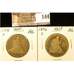 1875 S & 1876 S U.S. Seated Liberty Half Dollars. AG.